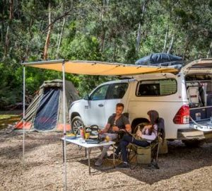 Britz Outback setup with awning